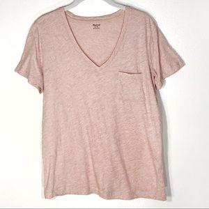 Madewell t shirt v neck pink